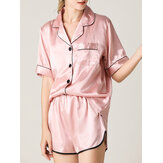 Dames Colorful Gestreepte button-up reverskraag Pocket Home Ice Silk Pyjama Set