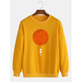 Mens Moon Print Cotton Pullover Round Neck Long Sleeve Casual Sweatshirts