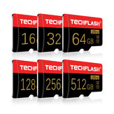 TECHFLASH 4GB-256GB Class 10 TF Memory Card Flash Drive con adaptador de tarjeta Estilo de tarjeta negro-dorado para iPhone 12 Smartphone Tablet Switch Speaker Drone Car DVR GPS Cámara