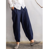 Plus Size Casual Women Elastic Waist Bunched Pants