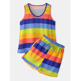 Plus Size Women Colorful Striped Sleeveless Tank Tops Pocket Shorts Comfy Pajama Set