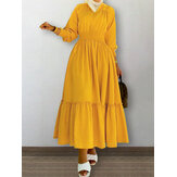 Solid Color V-Neck Shirred Waist Casual Long Sleeve Maxi Dresses For Women