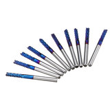 Drillpro 10pcs 3.175mm Blue NACO Coated PCB Bits Carbide Engraving Milling Cutter For CNC Tool Rotary Burrs