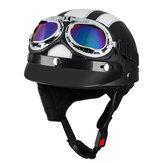 Capacete de Scooter de motocicleta metade Chapéu Visor de escudo de rosto aberto com óculos de sol UV