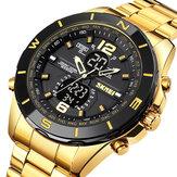 SKMEI 1670 Business Style compte à rebours double affichage montre affichage lumineux montre-bracelet en acier pour hommes