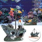 Resina Acuario Adorno para tanque de peces Barco pirata Paisaje que esconde decoraciones de cuevas