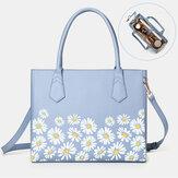 Frauen PU Leder Daisy Multifunktions-Multitasche 13,3-Zoll-Laptop-Schlüssel Handtasche Umhängetasche