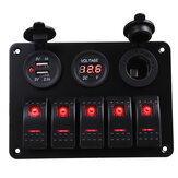 5 Gang Dual USB 12V On-Off LED Switch Panel Voltmeter Car Boat Marine RV Truck ON-OFF