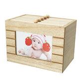 レトロウッドフォトアルバムボックス木製ケースウェディングギフトDIY 6インチ100ピース収納