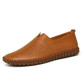 Zapatos de conducción informales cómodos y transpirables con costura a mano de color puro para hombre