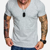 Men Solid Color V-neck Muscle Fit T-Shirts