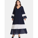 Plus Size Women Hit Color Pleated Patchwork Maxi Dress
