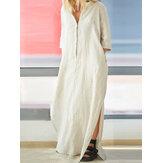 Mujer Breve con cuello en V lateral de algodón dividido Maxi Vestido