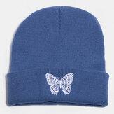 Unisex lana cálido elástico casual dibujos animados mariposa bordado Patrón de punto Sombrero gorro sin ala