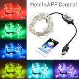 USB Bluetooth String Light управление приложением для мобильного телефона Медь Провод Light String Рождественское украшение Smart Strips