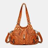 Kobiety PU Leather Solid Color Duża pojemność Retro Fashion Tote Torebki Torby Crossbody