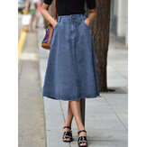 Women Casual Loose Knee Length Denim Skirts