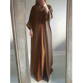 Women Vintage Solid Color Loose Casual Cardigan Abaya Kaftan Long Sleeve Robe