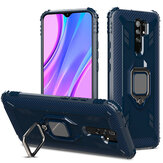 Bakeey for Xiaomi Redmi 9 Case Carbon Fiber Pattern Armor Shockproof Anti-Fingerprint with 360° Rotation Magnetic Ring Bracket PC Protective Case Non-original