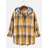 Chemises décontractées à manches longues à capuche à carreaux simples pour hommes