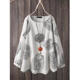 Женская свободная повседневная блузка с длинным рукавом с принтом в виде кольца с деревом из хлопка Шея