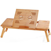 Bamboo Laptop Desk Adjustable Portable Breakfast Serving Bed Tray Multifunctional Table with Tilting Top Storage Drawer