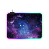 Wired USB Gaming Mouse Pad RGB LED Desk Mat Cosmic Nebula Antislip Luminous Game Mouse Pad