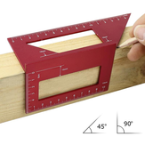 Red Aluminum Alloy Woodworking Scriber T Ruler Multifunctional 45/90 Degree Angle Ruler Angle Protractor Gauge
