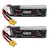 ALIENMODEL 7.6V 450mAh 80C 2S HVLipoバッテリーXT30RCドローン用プラグ