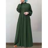 Women Cotton Solid Retro Mandarin Collar Puff Sleeve Button Up Long Sleeve Maxi Dress