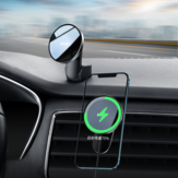 Baseus Magnetic 15W Qi Wireless Charger Automatic Clamping Air Vent Dashboard Car Phone Holder Car Mount For iPhone 12 Mini For iPhone 12 Pro Max
