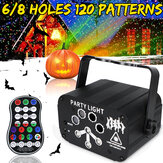 6/8 Holes USB Mini LED Stage Light RGB Laser Projector Disco Party Club DJ Lamp for Christmas with Remote Control
