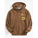Mens Sunflower Embroidery Pattern Kangaroo Pocket Long Sleeve Hoodies