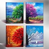 4Pcs Leinwanddruck Gemälde Vier Jahreszeiten Bäume Ölgemälde Wanddekoration Druck Kunst Bild Rahmenlose Home Office Dekoration