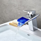 Brassiness Waterfall Bathroom Sink Faucet with LED Color Light Basin Mixer Tap