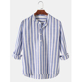 Mens Basic Striped Cotton High Low Hem Stand Collar Casual Long Sleeve Henley Shirts
