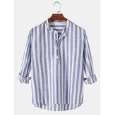 Erkek Temel Çizgili Pamuk Yüksek Düşük Etek Standı Yaka Rahat Uzun Kollu Henley Gömlek