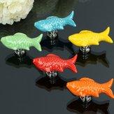Goldfish Ceramic Knobs Door Furniture Handle Cabinboard Cabinet Drawer Pull