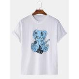 T-shirt da uomo a maniche corte in cotone tondo Collo