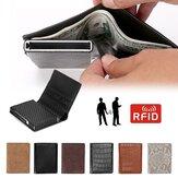 Мужчины Бизнес RFID Антисканированное мини-углеродное волокно Шаблон Автоматическая кредитная карта Алюминиевые монеты Сумка Держатель бу
