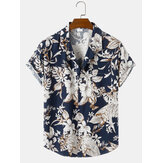 Mens Allover Floral Print Casual Light Loose Short Sleeve Shirts