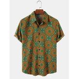 コットンエスニック抽象花柄ヴィンテージスタイル半袖リラックスシャツ