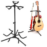 3 Multi Instrument Acoustic Electric Bass Guitar Iron Stand Storage Rack With Cotton Protection Head