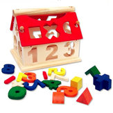 New Kid Wooden Número digital House Building Toy Educational Intellectual Blocks