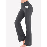 Color liso High Wasit Mujer Casual Sport Yoga Pantalones