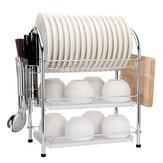 3 Tier Chrome Kitchen Dish Rack Cup Drying Drainer Tray Cutlery Holder Storage Kitchen Storage Rack