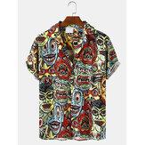 Mens Casual Clown figuur Cartoon Print Shirts met korte mouwen