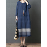 Mulheres Vintage Loose Cotton Linen Striped Patchwork Dress