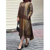 Women Plaid Irregular Hem Kaftan Robe Loose Casual Maxi Dresses With Side Pocket