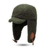 Unisex Kış Moda Trapper Şapka Kuzu Kadife Earmuffs Şapka